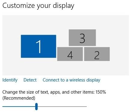 Multiple monitor settings