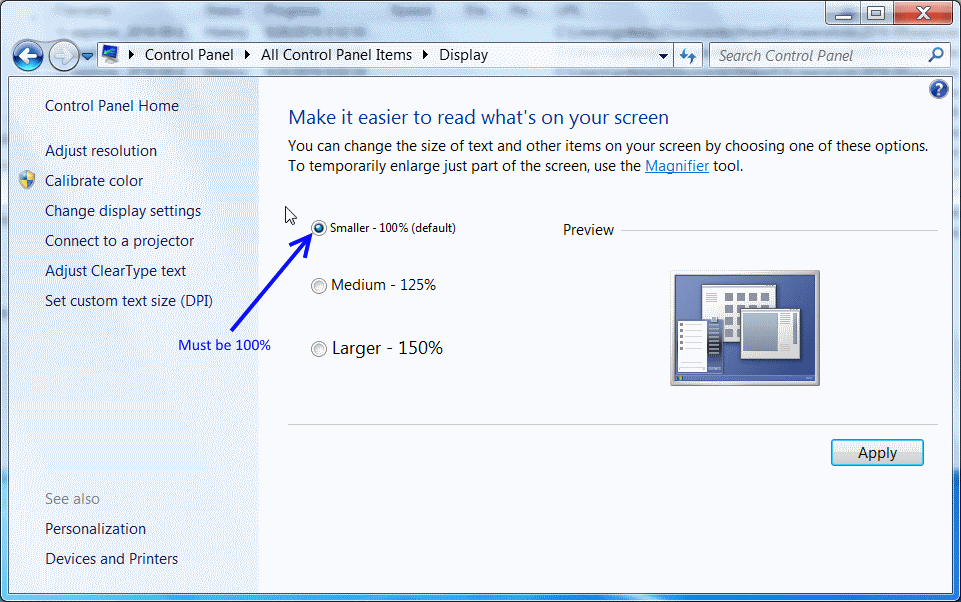Turn off DPI scaling on Windows 7 (part 2)